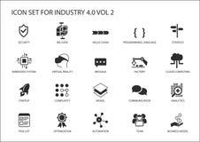 Icono reutilizable fijado para la industria 4 libre illustration
