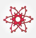 Icono rojo abstracto de la flor ilustración del vector