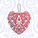 Icono rojo abstracto del corazón del amor del día de tarjetas del día de San Valentín, tatuaje maorí estilizado del koru ilustración del vector