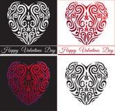 Icono rojo abstracto del corazón del amor del día de tarjetas del día de San Valentín, tatuaje maorí estilizado del koru stock de ilustración