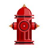 Icono rojo de la boca de incendios aislado en el vector blanco imágenes de archivo libres de regalías