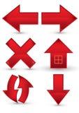 Icono rojo de la navegación del Web Foto de archivo libre de regalías