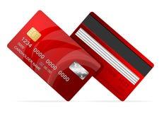 Icono rojo de la tarjeta de crédito del vector en blanco Fotos de archivo