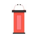 Icono rojo de la tribuna con los micrófonos Imagenes de archivo