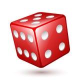 Icono rojo de los dados, ejemplo del vector Fotos de archivo