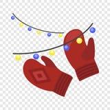 Icono rojo de los guantes del invierno, estilo plano stock de ilustración