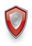 Icono rojo del blindaje Imágenes de archivo libres de regalías