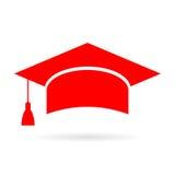 Icono rojo del casquillo del graduado del academic Imágenes de archivo libres de regalías