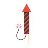 Icono rojo del cohete del fuego artificial de la Navidad Fotografía de archivo libre de regalías