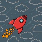 Icono rojo del cohete retro con las nubes en un backgrou azul gris del cosmos Foto de archivo