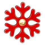 Icono rojo del copo de nieve de la Navidad, estilo realista ilustración del vector