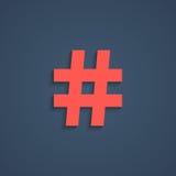 Icono rojo del hashtag con la sombra corta Fotos de archivo libres de regalías