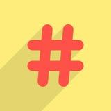 Icono rojo del hashtag con la sombra larga Fotos de archivo