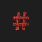 Icono rojo del hashtag en estilo del bosquejo Imágenes de archivo libres de regalías