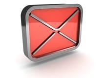 Icono rojo del metal del sobre del correo en el fondo blanco Imagen de archivo libre de regalías