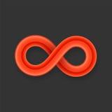 Icono rojo del símbolo del infinito del alambre brillante con libre illustration