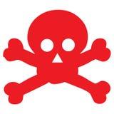 Icono rojo del scull del peligro Fotos de archivo libres de regalías