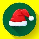 Icono rojo del sombrero de Santa Claus, casquillo del Año Nuevo foto de archivo libre de regalías