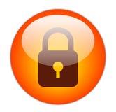 Icono rojo vidrioso del bloqueo Imágenes de archivo libres de regalías