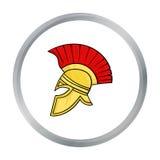 Icono romano del casco del soldado s en estilo de la historieta aislado en el fondo blanco Vector de la acción del símbolo del pa Fotos de archivo