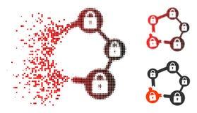 Icono roto de semitono de desintegración de la red de Pixelated Blockchain stock de ilustración