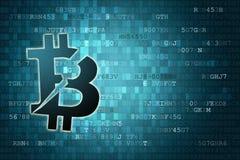 Icono roto Pixelated del bitcoin en fondo digital con el copyspace Concepto de las finanzas libre illustration