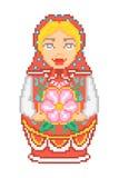 Icono ruso nacional tradicional de la muñeca del matryoshka del arte del pixel Fotos de archivo