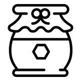 Icono sabroso del tarro de la miel, estilo del esquema stock de ilustración