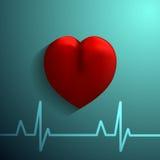 Icono sano del corazón en fondo azul Imagen de archivo