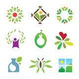 Icono sano del logotipo del cuidado del éxito de la naturaleza del paisaje verde olímpico de la hoja Imagenes de archivo