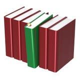 Icono seleccionado verde de la respuesta del rojo uno del espacio en blanco de la fila de los libros imagen de archivo