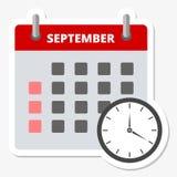 Icono septiembre del calendario, haciendo frente al icono de los plazos ilustración del vector