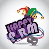 Icono sesgado Purim feliz en blanco stock de ilustración