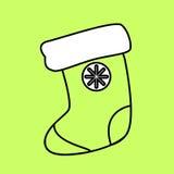 Icono simple con la imagen de un circuito negro del calcetín para los regalos encendido stock de ilustración