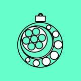 Icono simple con la imagen de una bola negra de la Navidad del contorno encendido libre illustration