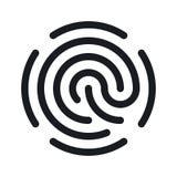 Icono simple de la huella dactilar aislado en el fondo blanco Fotografía de archivo libre de regalías