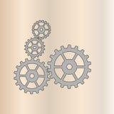 Icono simple de la muestra de cuatro engranajes Fotografía de archivo