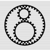 Icono simple de la muestra de tres engranajes Foto de archivo