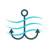 Icono simple del ancla con las ondas Foto de archivo