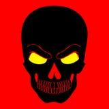 Icono simple del web en el ejemplo rojo del fondo del cráneo del vector Fotografía de archivo