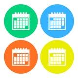 Icono simple, plano, circular del calendario Silueta blanca Cuatro variaciones del color libre illustration