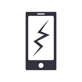 Icono simple roto teléfono del vector ilustración del vector