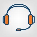 Icono sin manos de los auriculares, muestra de la ayuda del centro de atención telefónica Imágenes de archivo libres de regalías