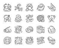 Icono sobre los juguetes y la costura de costura aislados en blanco ilustración del vector