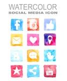 Icono social de la acuarela medios Fotografía de archivo libre de regalías
