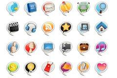Icono social de la burbuja de los media Imagenes de archivo
