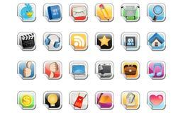 Icono social de la etiqueta engomada de los media Imágenes de archivo libres de regalías