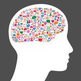 Icono social de los media en cerebro humano Imagen de archivo