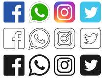 Icono social de los medios para Facebook, Whatsapp, Instagram, Twitter ilustración del vector