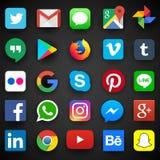 Icono social de los medios para Facebook, Whatsapp, Skype, YouTube, Instagram, Snapchat, lugar frecuentada, Twitter ilustración del vector